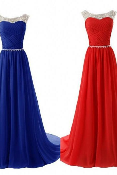 Long Beaded A Line Chiffon Prom Dresses Ruched Details pst0118