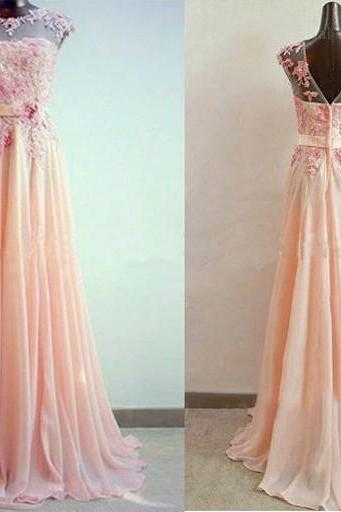 Simple Lace and Chiffon Pink Prom Dresses Pearls Embellishment pst0113
