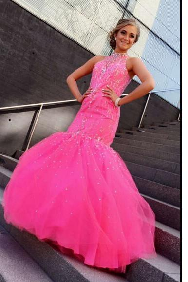 Halter Strap Prom Dress Evening Prom Dresses pst0904