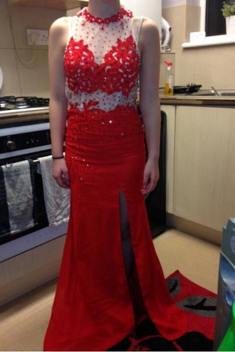Long Red Prom Dress Evening Party Dresses With Slit pst0890