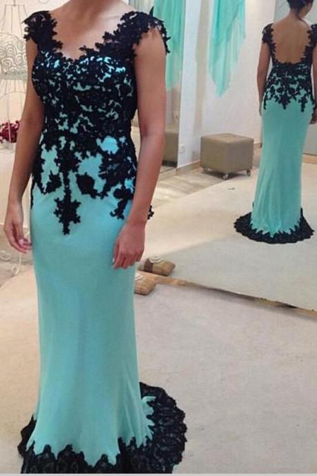 Elegant Prom Dress With Black Lace Evening Party Dresses pst0883