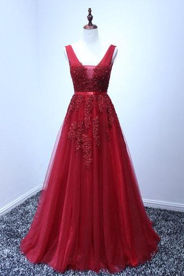 Red Prom Dress Deep V Neckline pst0786