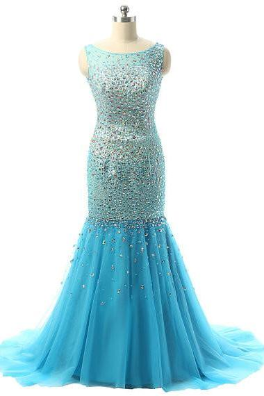 Prom Dress Prom Dresses With Stones and Deep V Back pst0767