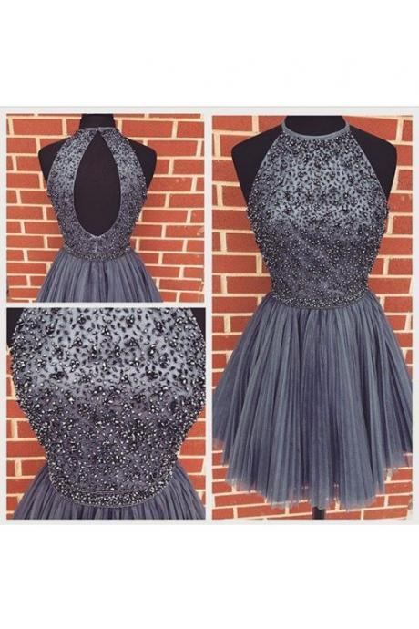 Beaded Homecoming Dress Short Prom Dresses Halter Strap pst1358