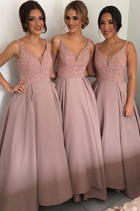 2017 Beaded Satin Bridesmaid Dresses Wedding Party Dresses