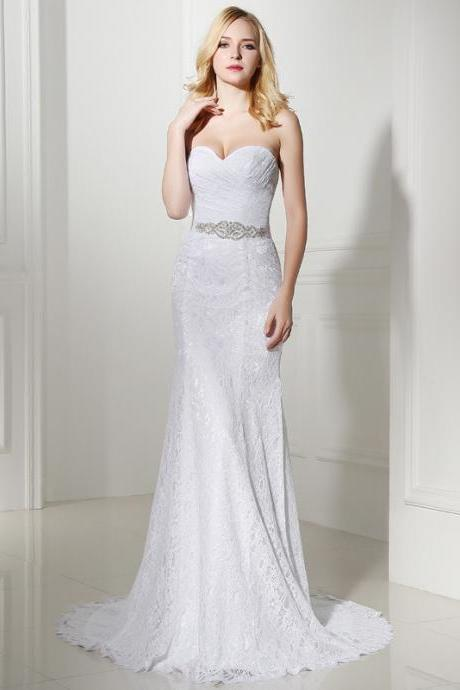 Strapless Sweetheart Ruched Lace Mermaid Wedding Dress Featuring Lace-Up Back
