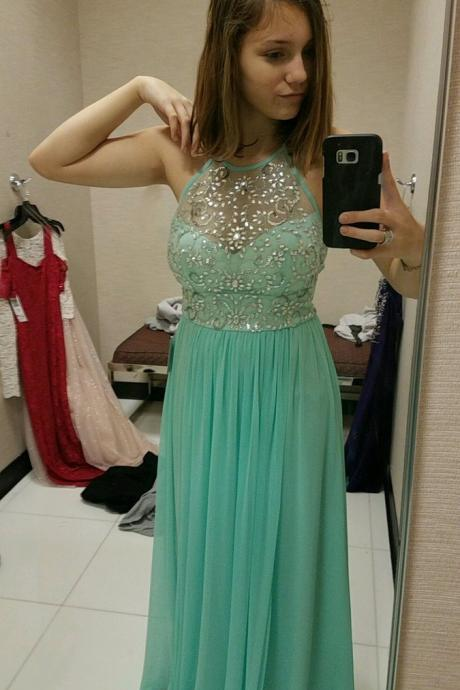 Halter Prom Dress, Beaded Prom Gowns, Green Formal Dresses, Wedding Party Dresses,Sweet 16 Dresses