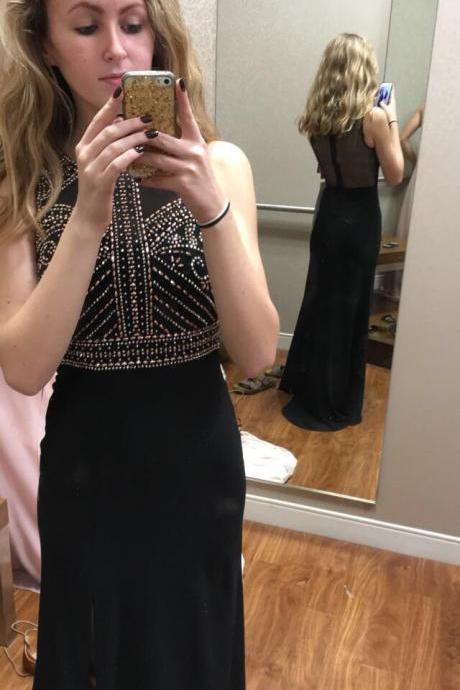 Black Beaded Prom Dresses, Wedding Party Dresses, Evening Dresses, Graduation Party Dresses