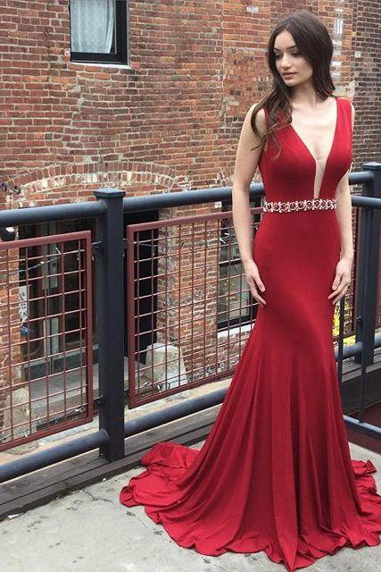 Mermaid V-Neck Red Long Prom Dresses Wedding Party Dresses Graduation Party Dresses Banquet Gowns