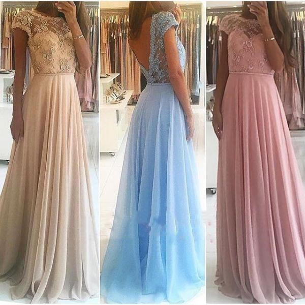 Chiffon and Lace Prom Dresses, Formal Dresses, Graduation Party Dresses, Banquet Gowns