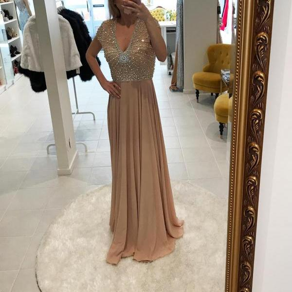 Champagne Chiffon Beaded Prom Dresses, Formal Dresses, Graduation Party Dresses, Banquet Gowns