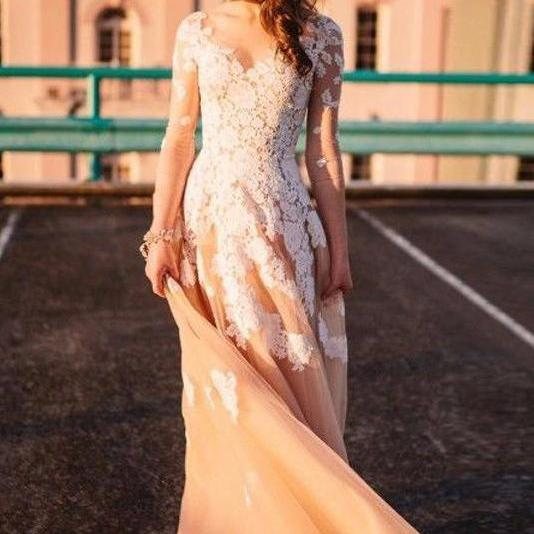 Prom Dress with Sleeves, Sweet 16 Dress, Evening Dresses, Pageant Dresses, Graduation Party Dresses, Banquet Gown