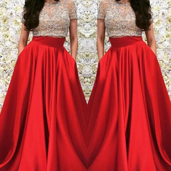 Two Pieces Prom Dress with Short Sleeves, Sweet 16 Dress, Evening Dresses, Pageant Dresses, Graduation Party Dresses, Banquet Gown