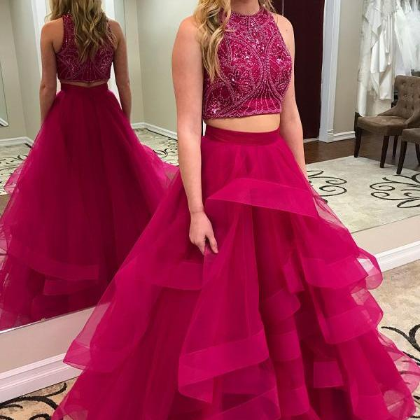 Two Pieces Princess Style Prom Dress, Sweet 16 Dress, Evening Dresses, Pageant Dresses, Graduation Party Dresses, Banquet Gown