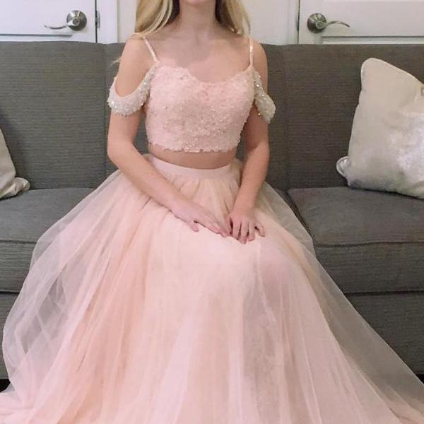 Two Pieces Prom Dress Off The Shoulder Strap, Sweet 16 Dress, Evening Dresses, Pageant Dresses, Graduation Party Dresses, Banquet Gown