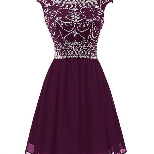 Beaded Embellished Bateau Neck Cap Sleeves Short Chiffon A-Line Homecoming Dress Featuring Plunge V Back, Party Dress