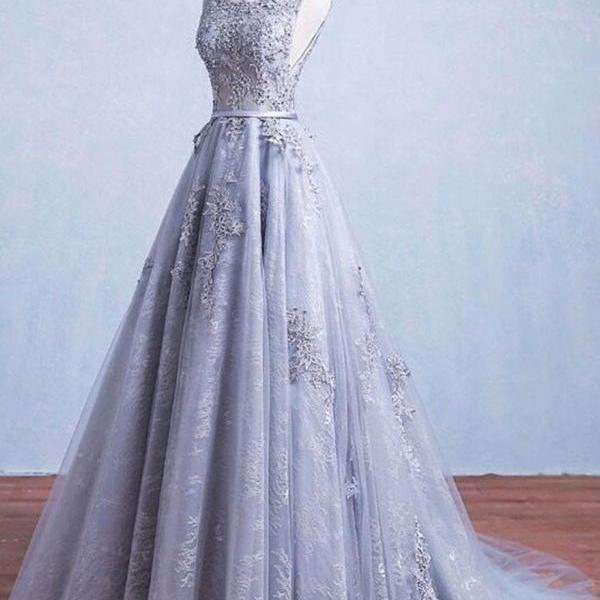 Silver Lace Prom Dresses Wedding Party Dresses Sweet 16 Dresses Banquet Dresses